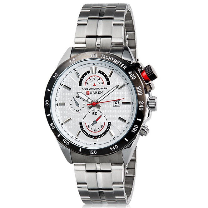 Curren Brand Silver Full Stainless Steel Band Men Wristwatch Analog Quartz Luxury Watch Men Casual Watch