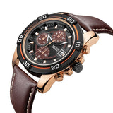Megir New Chronograph Date Men Watch Genuine Leather Quartz Sport Watch Luxury Military Watch Men Wristwatch