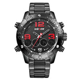 "BRAND: WEIDE  ITEM: WH3405 STYLE: SPORT,CASUAL,BUSINESS,FASHION DISPLAY: Analog & Digital  Movement: Original Japan 2035 Quartz + LCD Digit   Features: - WEIDE(WH3405) sports watch with 6 versions; - Original Japan 2035 Quartz Movement and LCD digital movement; - Hour,minute,second,date,month,week,alarm,stop watch,12/24 hours and back light functions - High abrasion resistant glass; - Watch crown with environmental IPS bronze electroplating; - Environmental IP Black vacuum electroplating Case; - High quality PU and Stainless Steel band; - Stainless steel buckle & back case with 3D ""WEIDE"" logo - 3-year long life battery - Walking on error ± 45S / M - 12-month Original Factory Quality Guarantee - 30 meters water resistant(Please Don't  Press  Any Key Underwater)   Specification: Case Diameter: 5.2 cm (2.05'') Case Thickness: 1.67 cm (0.66'') Band Length: 26 cm(10.24'') Band Width: 2.4 cm(0.94'')   Components Included: 1 x WEIDE Watch 1 x Users' Manual"