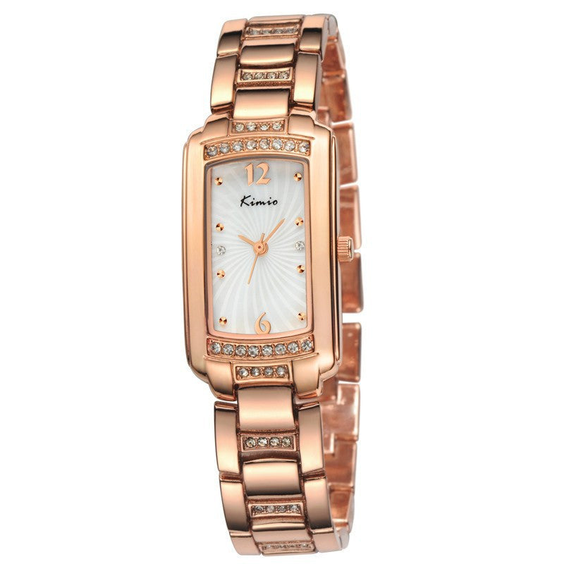 KIMIO New Women Quartz Watch IP Plating Gold Stainless & Rhinestone Band Casual Watch Women Wristwatch