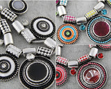 New Choker Necklace Bohemia Ethnic Collares Vintage Silver Plated Colorful Bead Pendant Statement Necklace For Women Jewelry