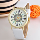 Original Women Genuine Leather Vintage Women Watches,Bracelet Wristwatches, Feather Dial watches