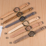 Simulation Wooden Quartz Men Watches Casual Wooden Color Leather Strap Watch Wood Male Wristwatch