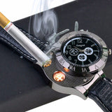 Military USB Lighter Watch Men's Casual Quartz Wristwatches with Windproof Flameless Cigarette Cigar Lighter