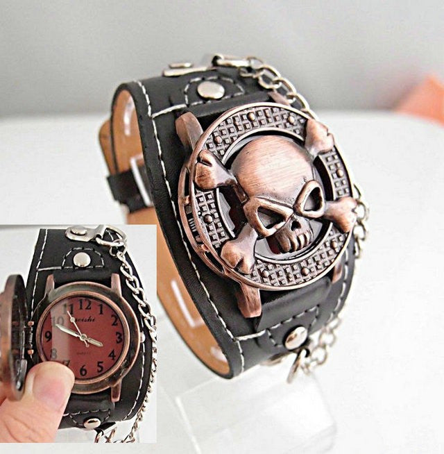 New Arrival Leather Watch wristwatches Cool Skull with Cover Design Leather Watch men TOP quality