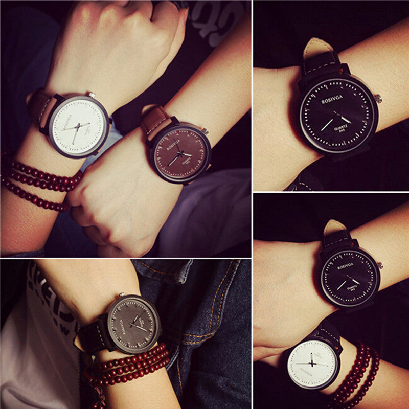 2015 Brand New Watches Men Fashion Round Steel Case Men women Leather quartz watch Wrist watches High Quality