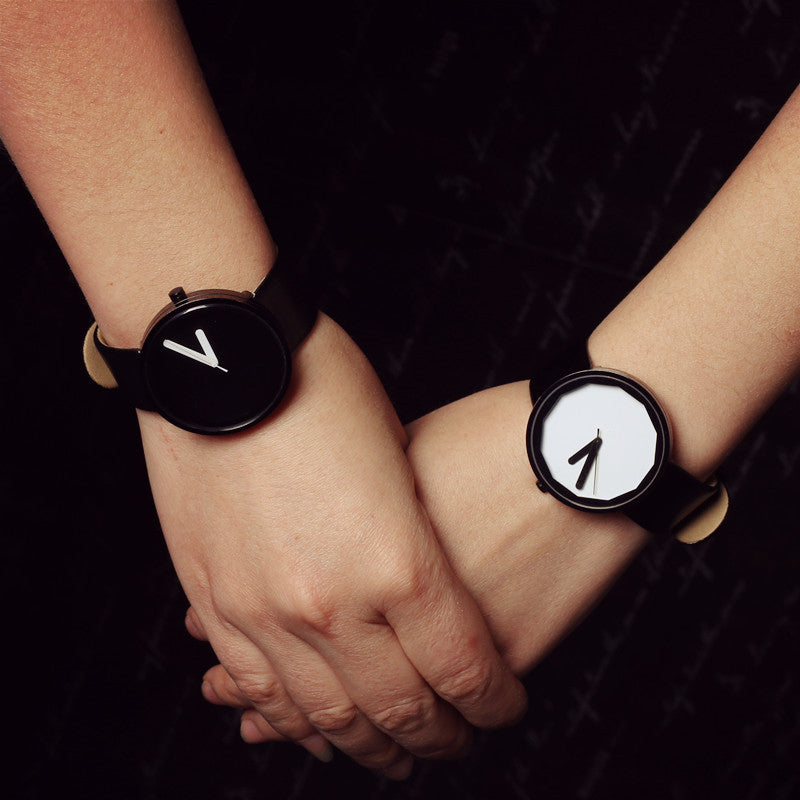 Genuine Leather Brand Luxury Women Man Watch Lovers' Quartz Watch Black White Wristwatches Montre Femme De Marque