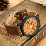 New Fashion Design Simulation Wooden Quartz Men Watches Casual Wooden Color Leather Strap Watch Wood Male Wristwatch Hot Sale