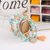 Woman Jewelry Fashion Bohemia Style Multilayer Metal Bracelet Colorful Beads Coin Tassel Bracelets
