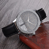 Woman Fashion Watch SKONE Brand Clock Genuine Leather Watch Imitation Diamond Watch Tree Design Dress watch
