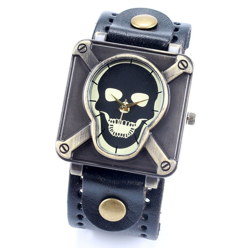 Retro Genuine Leather Vintage Skull Skeleton Bracelet Wrist Watch Punk Men Boy