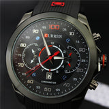 New Famous CURREN Brand Rubber Fashion Quartz Men Casual Watch Calendar Date Work 30M Waterproof Wristwatch