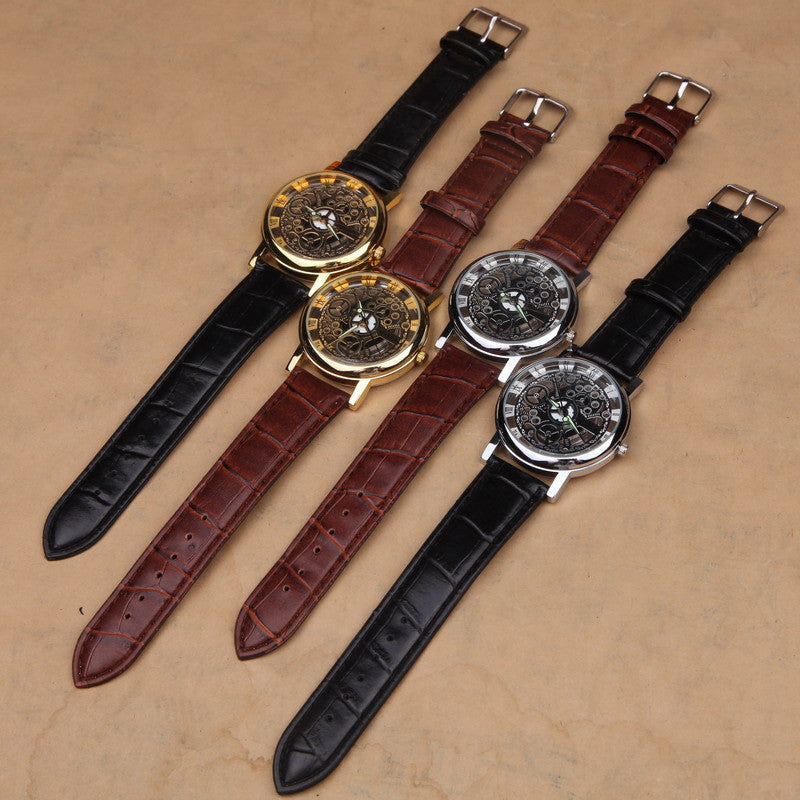 Famous Brand Luxury Fashion Casual Stainless Steel Men Skeleton Watch Men Dress Wristwatch Leather Quartz Boy watch