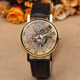 New Famous Brand Luxury Fashion Casual Stainless Steel Men Skeleton Watch Men Dress Wristwatch Leather Quartz Boy watch