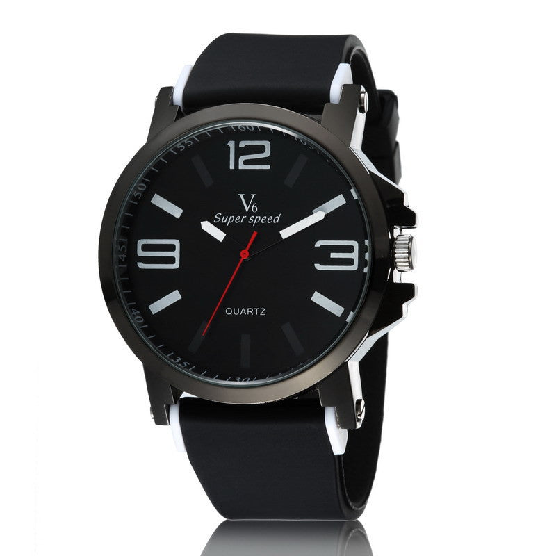 Fashion Wristwatches Clock Male V6 Brand Quartz Man Watches Silicone Wrist Band Watch Sports Men's Water proof watches Quality