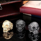 Classic Garden Secret 316L Stainless Steel Jewelry Men's Garden Flower Skull Ring for Man Punk Style