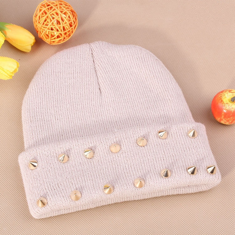 Fashion Unisex Men Knitted Hat Female Jelly Fluo Hat Autumn and Winter Hats for Women Plastic Rivets Wrap Gorro Beanies Cap