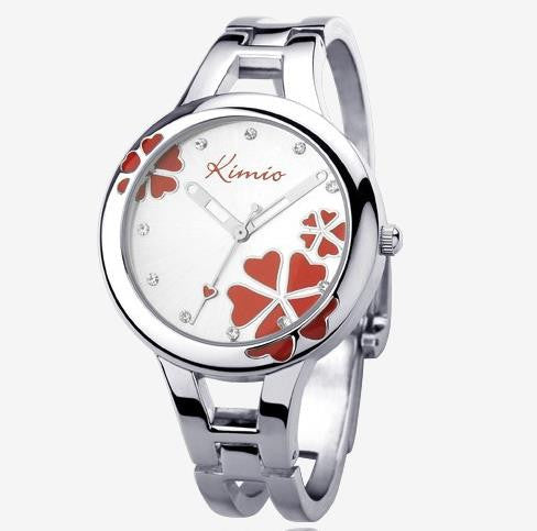 Kimio Fashion Brand Dress Ladies Bracelet Watches for Women Diamond Jewel Lucky Clover Stainless Quartz Watches