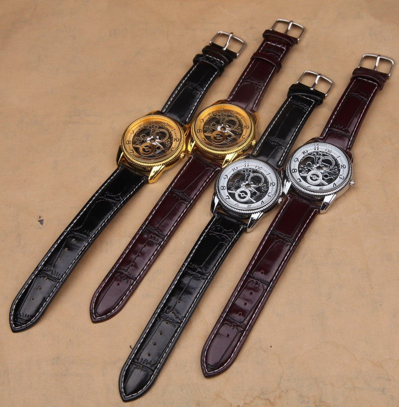 Hot Sale Classic Retro Gold Silver Skeleton Watch Leather Band Big Dial Men Women Girl Boy Luxury Wristwatch