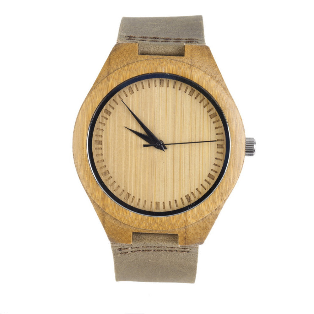 Fashion Men's Watches Bamboo Wood Wooden Watch Genuine Leather Band