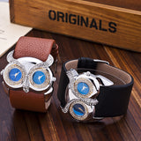 Hot Owl watch Delicate Women Quartz Diamond Watch Double Movement Dress Watch Gift High Quality PU Leather