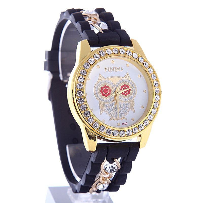New Dress Casual Owl Quartz Clock Female Popular Relogio Luxury Diamond Ladies Wristwatches Women Silicone Chain Fashion Watch