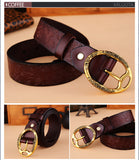 Fashion 100% genuine leather Belts for women brand designer Carved vintage leather belt