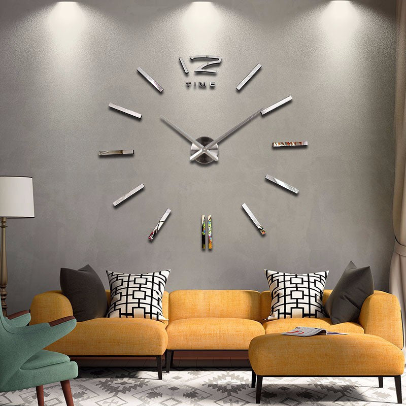 New hot sale clock watch wall stickers clocks home decoration modern quartz diy 3d acrylic Mirror Metal