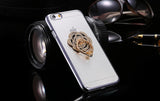 Metal Plating Bling Diamond Pattern Case For Iphone 6 6s / 6s Plus Hard PC Ring Flower Stand Back Phone Cover