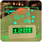 Hot Sale LED Fluorescent Message Board Digital Alarm Clock Calendar Night Light Modem LED Alarm Backlight