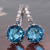 New Women Earrings! Fashion 18k White Gold Plated Lovely Famous Brand Jewelry Hoop Earings for Ladies Party