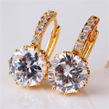 Earring Women 24K Yellow Gold Plated Hoop Earrings Zirconia Topaz Attractive Jewelry for Women Brinco Earings