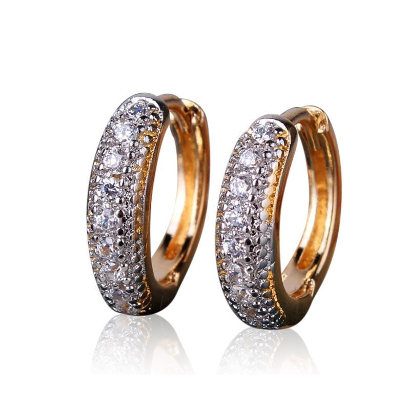 Special Designs Earrings for Women 18K Gold Platinum/White Gold Plated Small Hoop Huggies Earring with Charming Stone