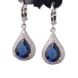 Creative Jewelry Earring for Women 18k White Gold Plating Drop Earrings Pear Shape Crystal Fabulous Wedding Dangle Earrings