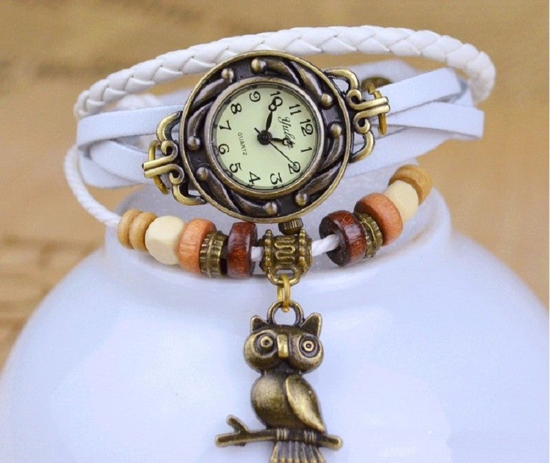 New Relojes Mujer Fashion Women Casual Leather Weave Wrap Wrist OWL Watch Charm Bracelet Watches