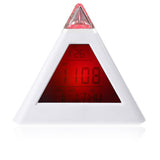 7 LED Color Changing Pyramid Digital LCD Snooze Alarm Clock Triangle Thermometer C/F relogio de mesa reloj despertador
