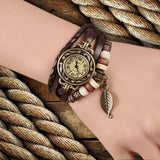 Hot Sale Retro Women Ladies Girls Fashion Long Leather Strap Bracelet Watch Vintage Punk Style Quartz Analog Casual Wristwatch