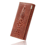New Arrival 3D Crocodile Grain Women Long Wallets Genuine Leather Embossed Design Draw-out Type Female Wallet Clutch Purses Carteira