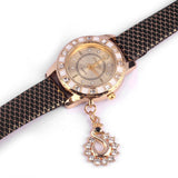 Women Vogue Dress Watches Swan Pendant Rhinestone Clocks Ladies Wristwatch