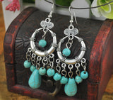 Ethnic Style Tibetan Silver Turquoise Earrings Hollow Out Long Tear Drop Earrings Brincos Wholesale Jewelry