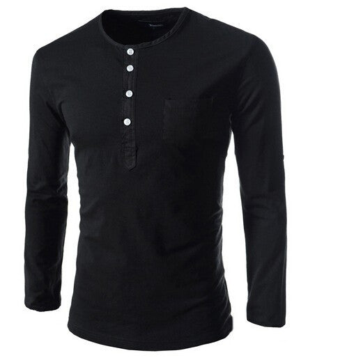 Hot new spring men's long-sleeved round neck collar Slim solid fashion high quality brand polo shirt