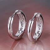 Fashion Earrings18k White Gold Plated Hoop Earring White Topaz Fashion Round Earrings Top Quality Ladies Small Earrings