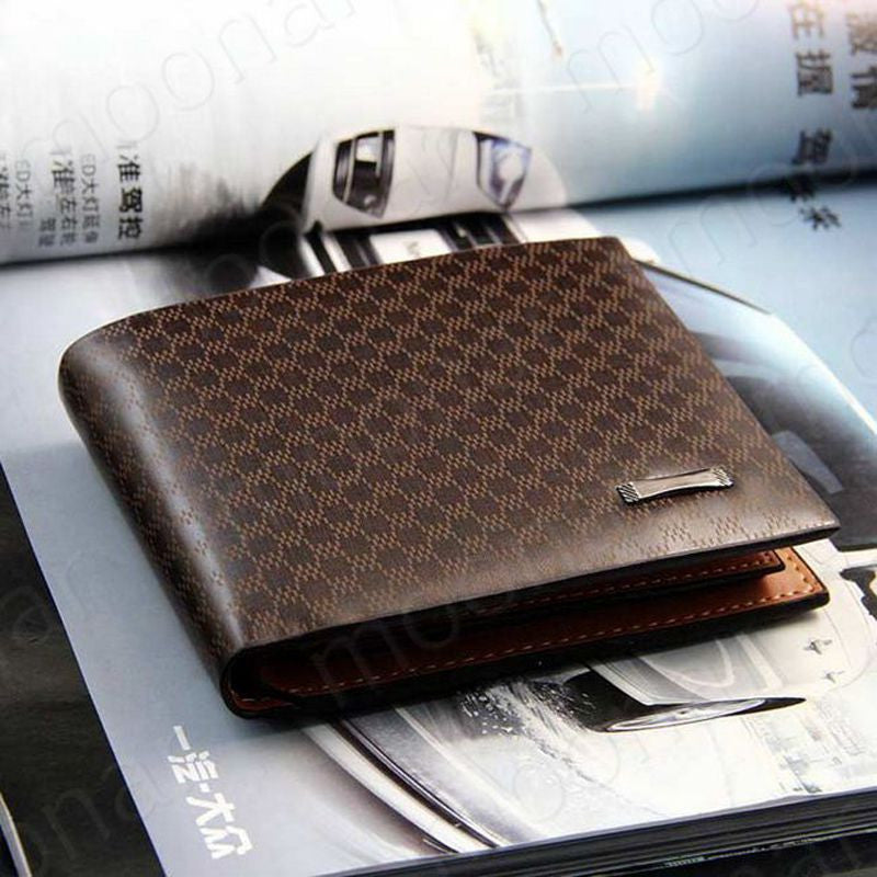 New Fashion Genuine + PU Leather Plaid Wallet Male Bag Brand Men Wallets Handbag Purse