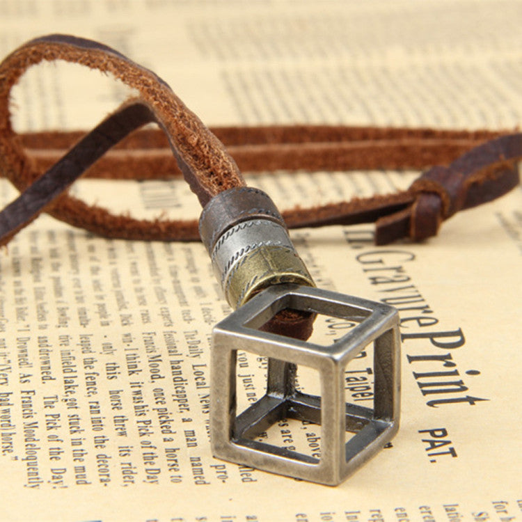 Genuine Leather Men Necklaces Pendants With Box Punk Vintage Adjustable Brown Rope Chain Male Jewelry Mens Jewellery