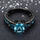 Black Gold Filled Jewelry New Fashion Geometric Design Light Blue CZ Ring Vintage Wedding Rings For Women