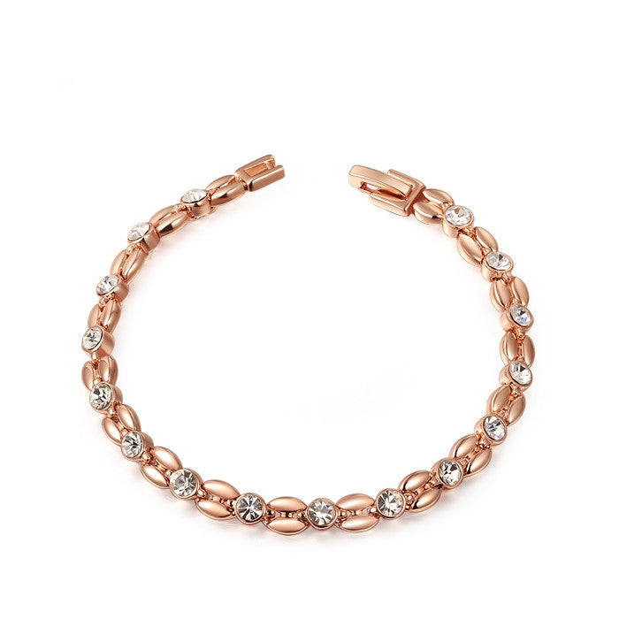Genuine Austrian Crystals Elegant Wheat Bracelet Rose Gold/Platinum Plated 100% hand Made Fashion Jewelry