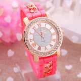 Dress Casual Clock Female Relogio Luxury Quartz Watch Diamond Wristwatches Women Silicone Platinum Chain Fashion Watches