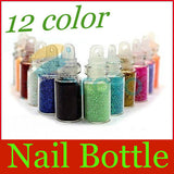 12 Color Glitter Decor Nail Art Powder Dust Bottle Set