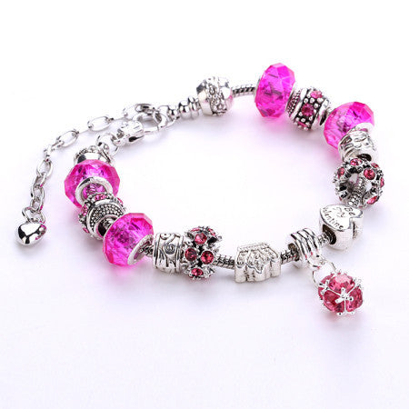 Fashion 925 Silver Daisies Murano Glass&Crystal European Charm Beads DIY Style Bracelets Adjustable