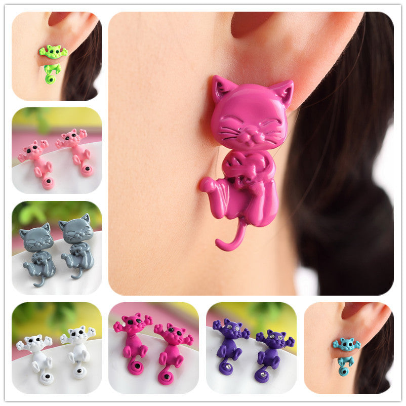 Fashion Colourful bijoux 3D Black eye Cute Small Cat Stud Earrings For Women Fine Jewelry brincos